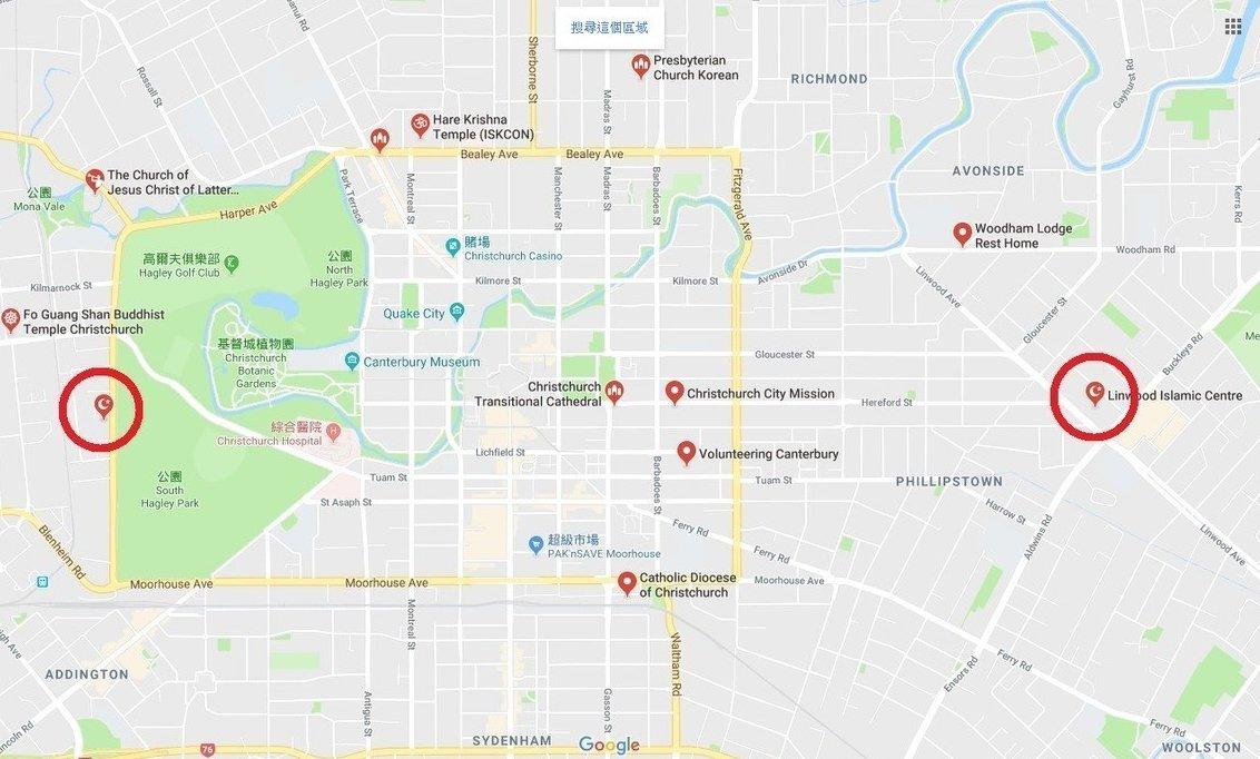 事發地點的兩座清真寺周遭屬繁華地帶,有公園、學校及醫院。圖片來源/GOOGLE MAP