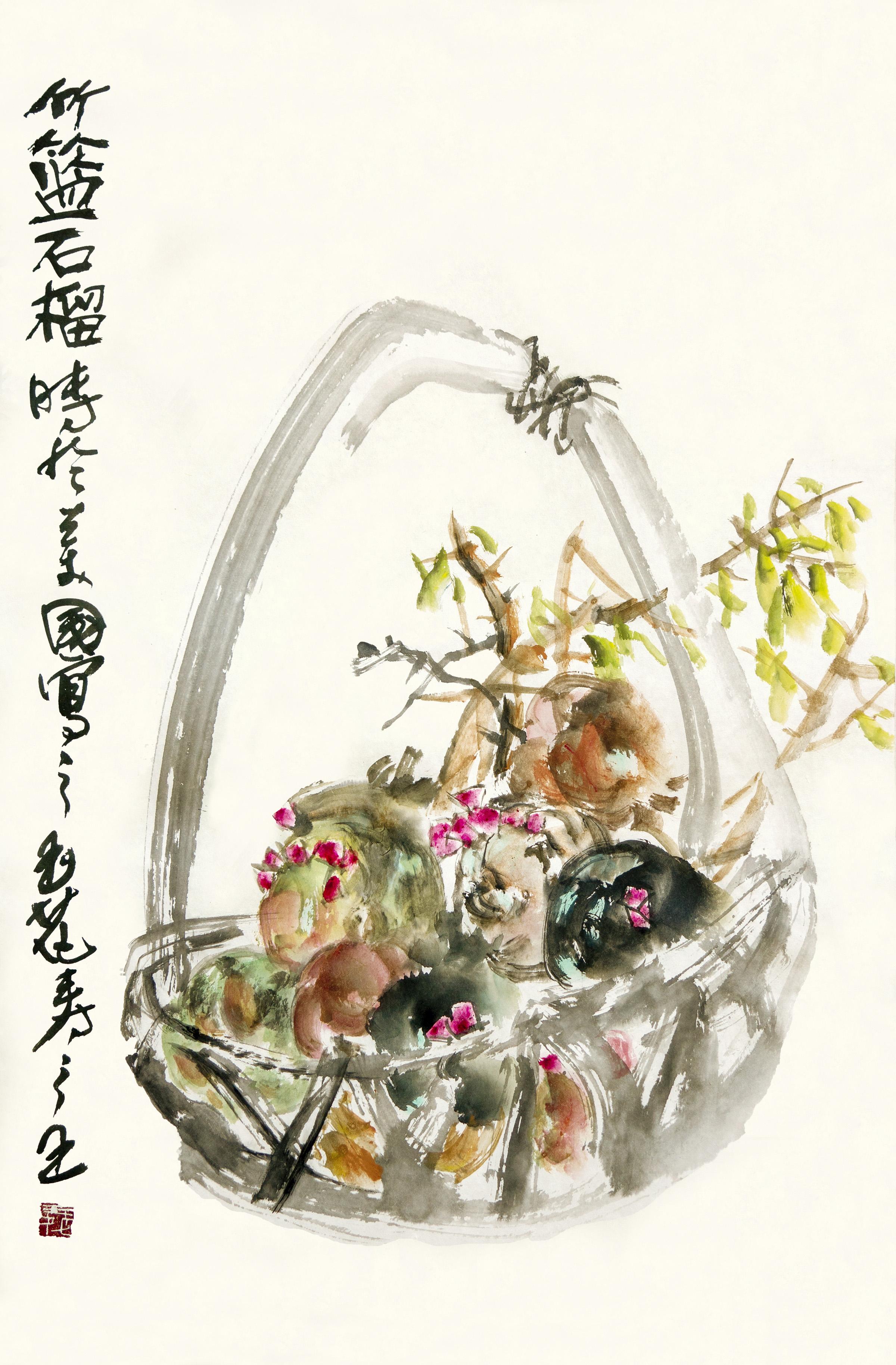 紐約貞觀國際拍賣公司以127萬成功拍出玉花壽之王博士的「竹籃石榴」。