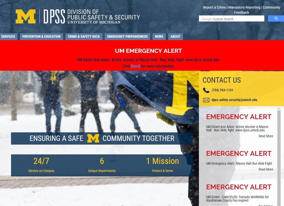 安娜堡密西根大學16日下午4時50分左右,向全校師生發出「校園有槍手」的緊急通知。(取自學校官網)