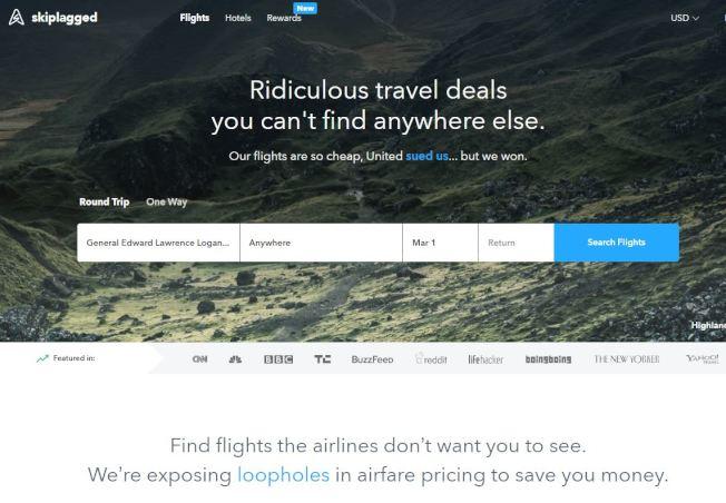 2015年联合航空和Orbitz对Skiplagged.com提起诉讼,但遭驳回。(Skiplagged.com)
