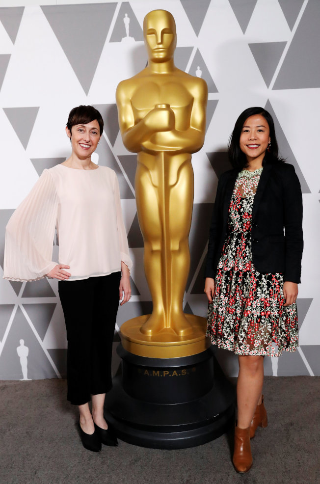 華裔女導演石之予(右)執導的《包寶寶》,奪得本屆奧斯卡金像獎最佳動畫短片。(路透)
