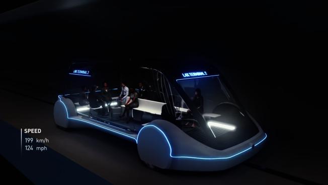 馬斯克旗下柏林公司所設計的「滑板式」隧道車,當初計畫成為芝加哥市區與歐海爾機場的未來交通選項之一。(Boring公司視頻截圖)