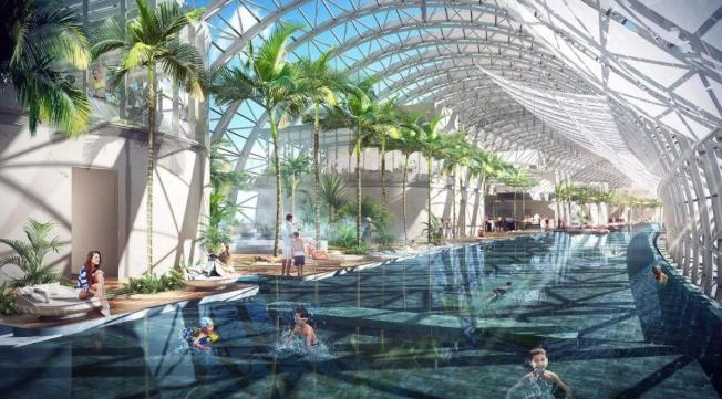 「橫向摩天大樓」裡會建游泳池和餐廳等。(取材自微信)