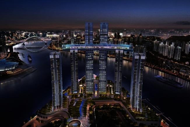 世界首座「橫向摩天大樓」未來將橫躺在重慶空中。(取材自臉書)