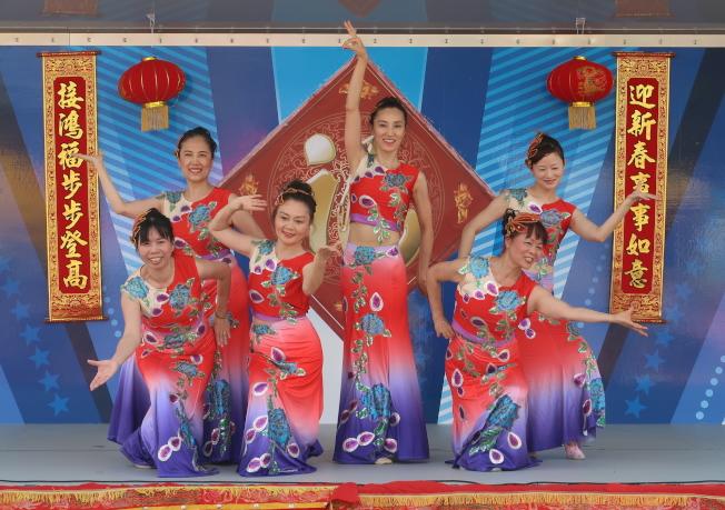 金龍大遊行舞台表演節目之一奧蘭多中國專協天籟舞蹈退表演傣族孔雀舞。(劉程驥提供)
