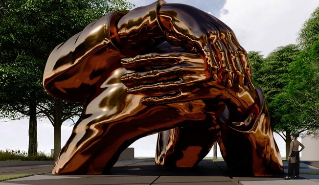 知名非裔藝術家湯馬斯創作的「擁抱」雕塑獲選為波士頓公園紀念金恩博士夫婦廣場的作品。(取自金恩波士頓網站)