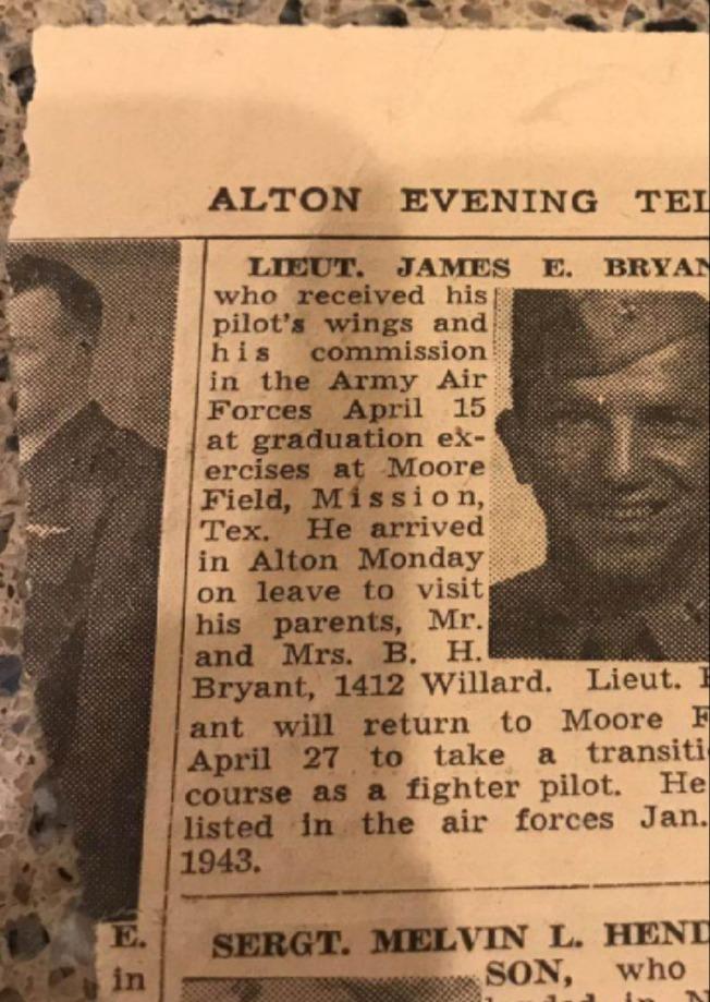 《奧爾頓晚郵報》關於詹姆斯.E.布萊恩特回鄉的報導。