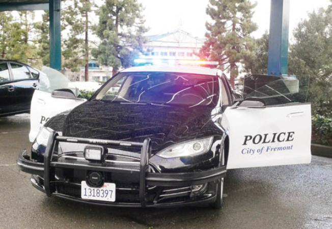 佛利蒙警局第一部電動巡邏車。(記者梁雨辰/攝影)