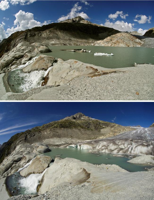 瑞士隆河冰河(Rhone glacier)2018年(上)與2009年冰河消融對照圖。(路透)