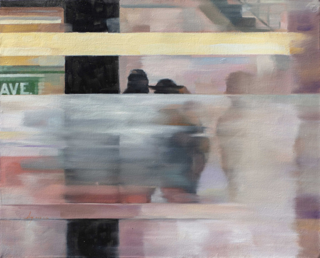 孫晨禕「紐約地鐵站」系列油畫作品。(孫晨禕提供)