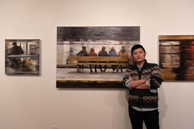 孫晨禕系列油畫作品「紐約地鐵站」,勾畫出紐約大都市的人文縮影。(孫晨禕提供)