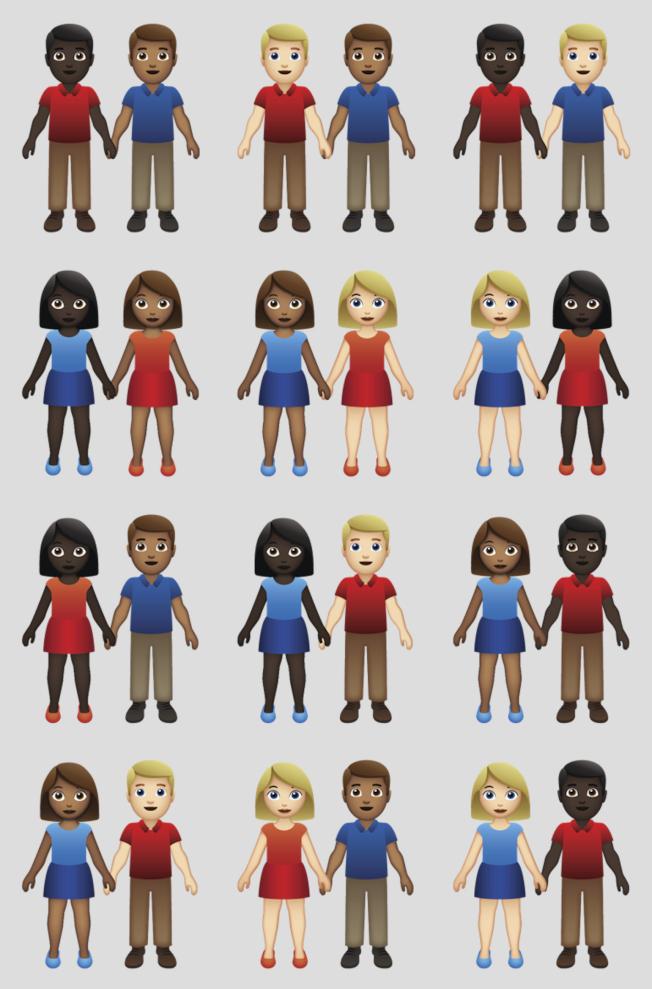 主管emoji的統一碼聯盟最近增加不同膚色組合的伴侶,從6組增加到71種組合。(美聯社)