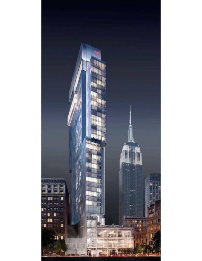 這是林氏集團在曼哈頓興建的Virgin Renders加盟酒店,背景是帝國大廈。(林氏集團提供)