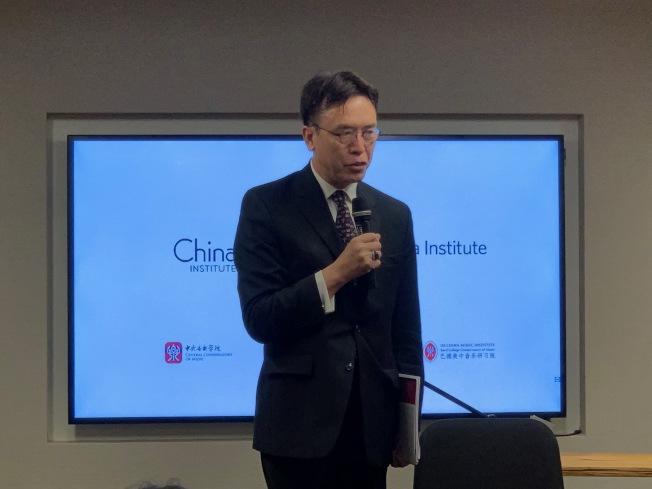 巴德学院美中音乐研习院院长蔡金东表示,「华美音乐」成立有助于促进中美两国文化交流。(记者和钊宇/摄影)