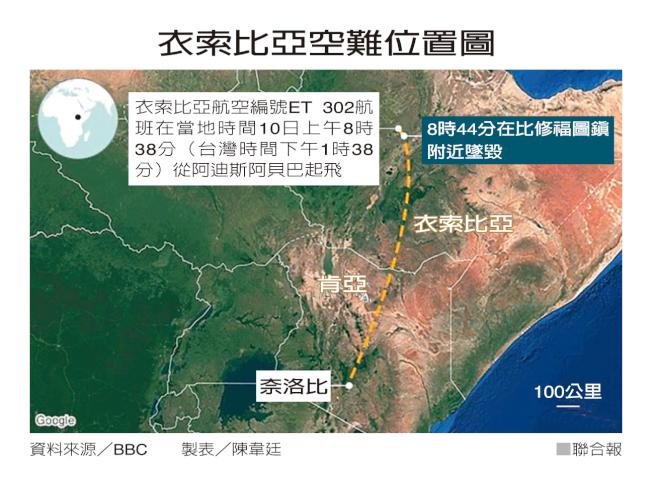 衣索比亞墜機位置示意圖