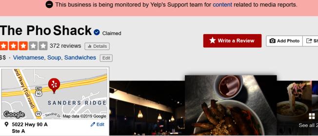 大量網友湧入Yelp給該餐館一顆星的最低評價,Yelp趕緊處理,聲明部分評論可能受到新聞事件影響外,也暫時關閉該餐館評論功能。(取自Yelp頁面)