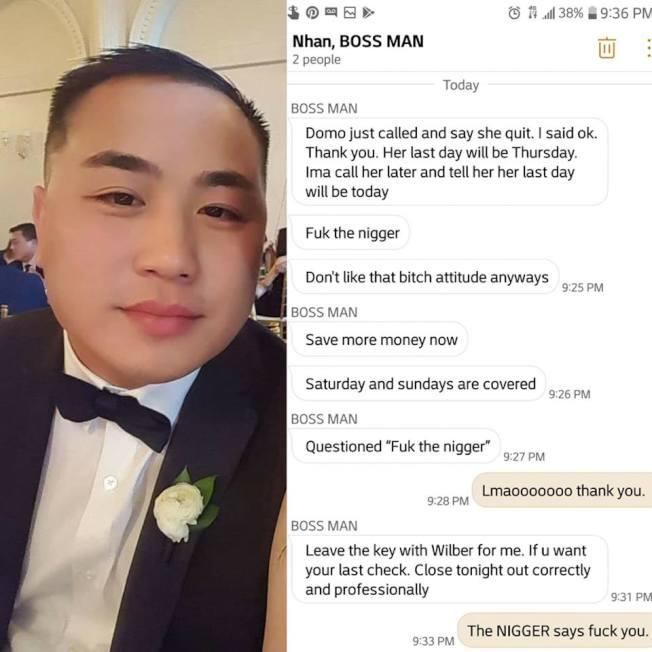 剛從越式餐館The Pho Shack離職的女經理在臉書留言,表示離職遭到亞裔負責人以髒話及歧視非裔字句攻擊,引來大批網友撻伐。(取自Domo Schneckenburg臉書)