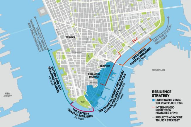 紐約市長白思豪計畫投資100億元在曼哈頓南端建設「環境防護帶」,通過填海造陸將從兩橋地區到砲台公園城的海岸線延伸兩個街區,以應對未來海平面上升以及風暴。(市長辦公室提供)