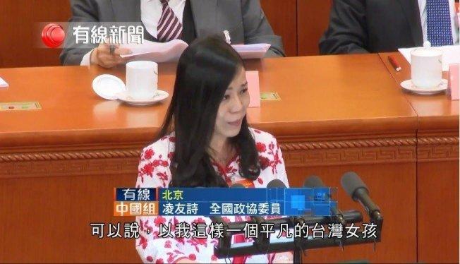 台籍全國政協委員凌友詩。圖擷自有線中國組臉書