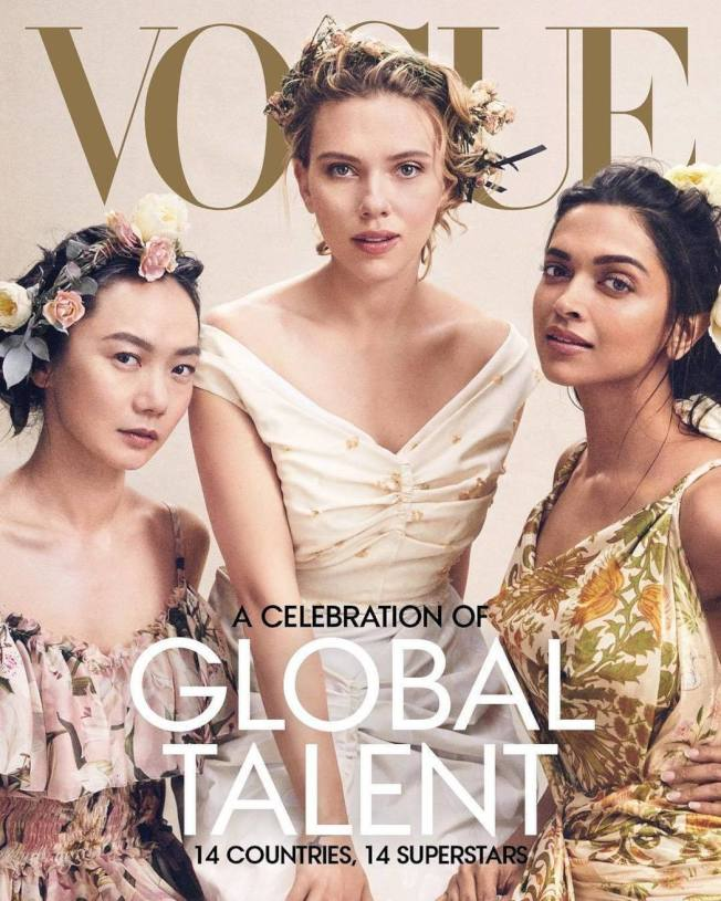裴斗娜(左起)、思嘉莉約翰森、荻皮卡帕都恭一起登上「Vogue」。圖/摘自Instagram