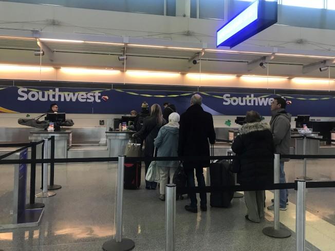 西南航空在芝加哥中途機場設有全美最大的轉運站。(特派員黃惠玲╱攝影)