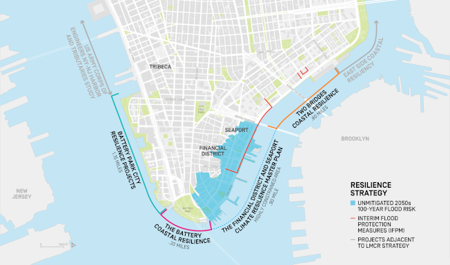 研究顯示,到2050年代,曼哈頓下城將有37%的建築在風暴中受到威脅。(市長辦公室提供)