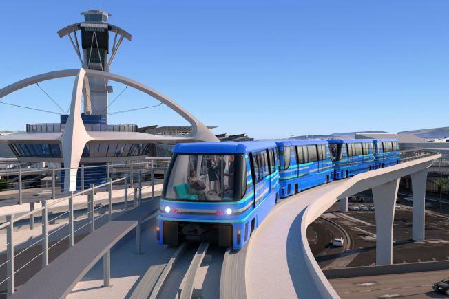 畫家筆下的洛杉磯國際機場旅客捷運系統。(洛杉磯市政府提供)