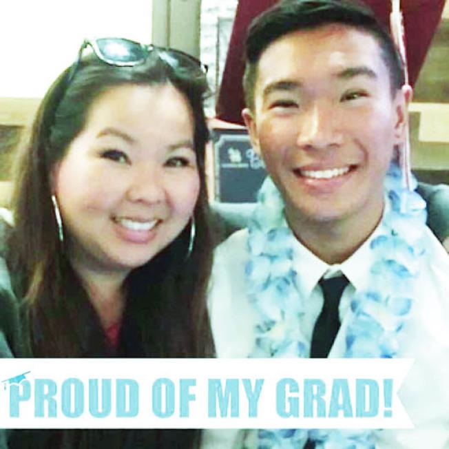 蔡美君與兒子畢業時的合照。(取材自臉書)