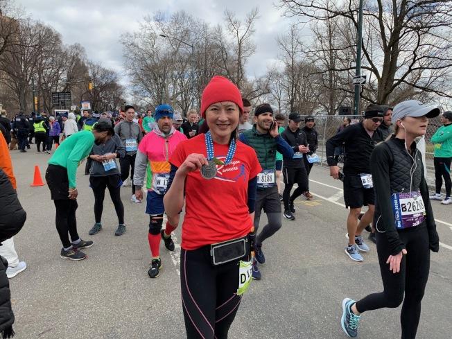 施鈴玉本次成績是2小時11分46秒,她表示,本次比賽的主要任務是陪跑。(記者和釗宇/攝影)