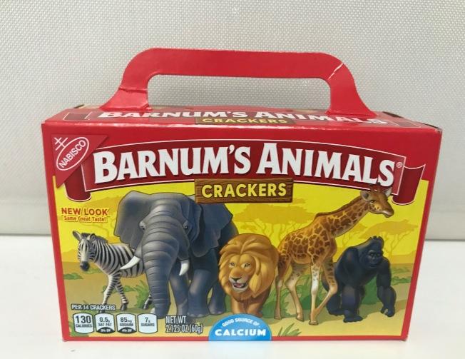 現在的巴納姆動物餅乾包裝,動物不再關在籠子裡了。(熊傳慧/攝影)