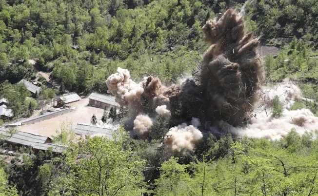 北韓去年5月拆除豐溪里核試驗場。(美聯社)