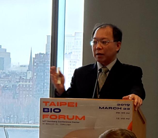 麻州 Origin Wireless 首席營運長李政鋒說明該公司無線技術與台北長照醫療系統合作的計畫。(記者唐嘉麗/攝影)