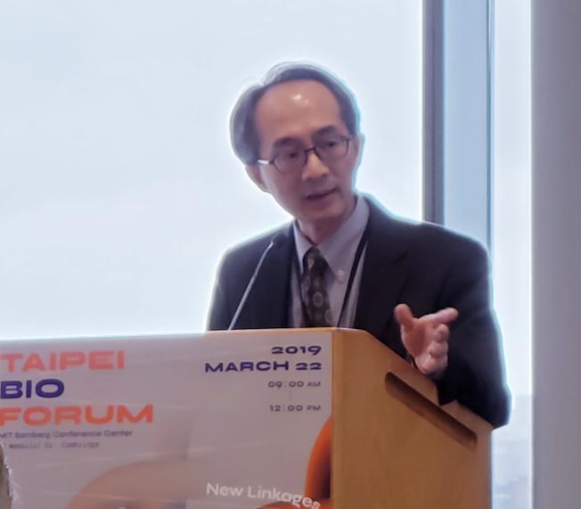 麻州 AB Biosciences公司首席科學長李政欣介紹該公司的生技研發方向與成果。(記者唐嘉麗/攝影)