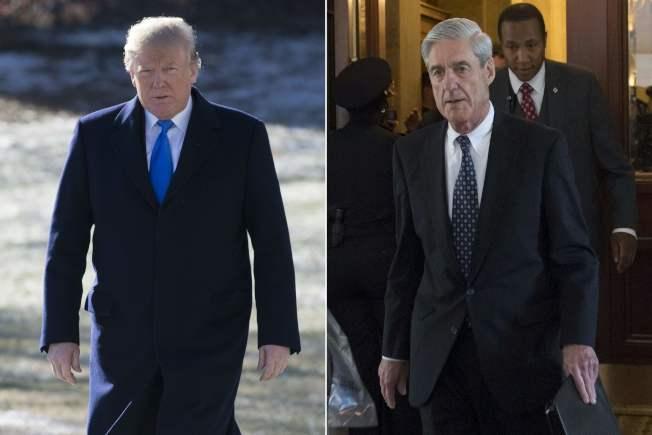 川普在競選期間有無與俄羅斯合作,是通俄案調查重點。圖為川普(左圖)與通俄案特別檢察官穆勒。(Getty Images)