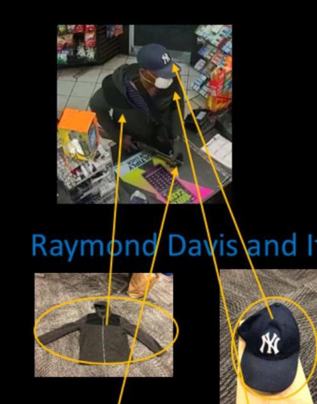 圖為柏克萊警局製作的年度犯罪報告中,示意如何透過線索逮捕一搶劫犯。(圖片取自警局犯罪報告)