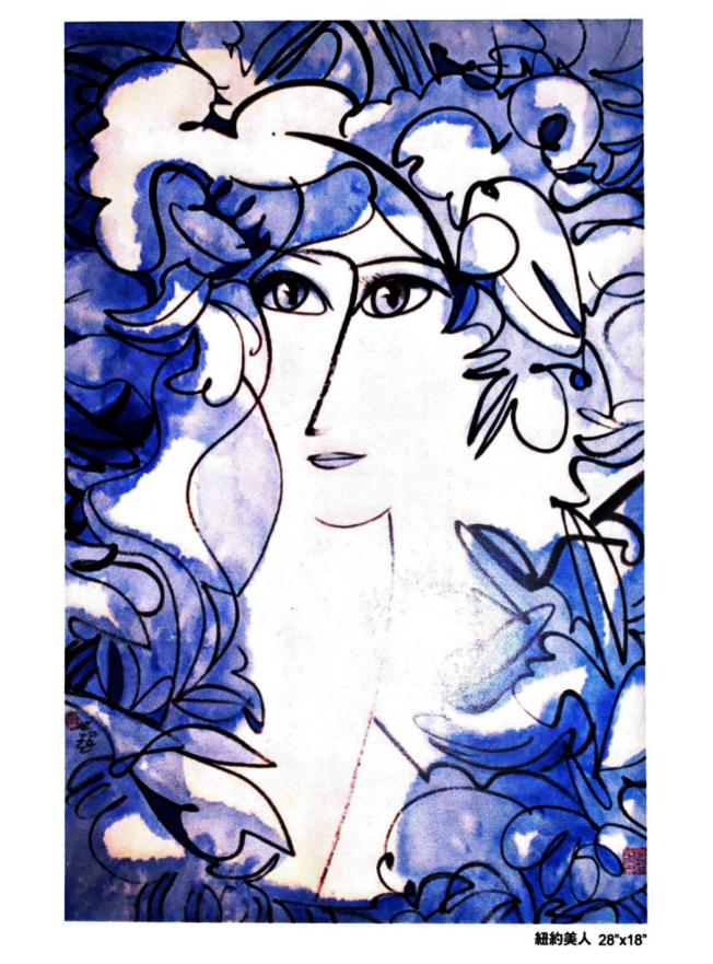 虞世超紐約個人畫展展出「紐約美人」和「駿馬」等58幅作品。(虞世超提供)