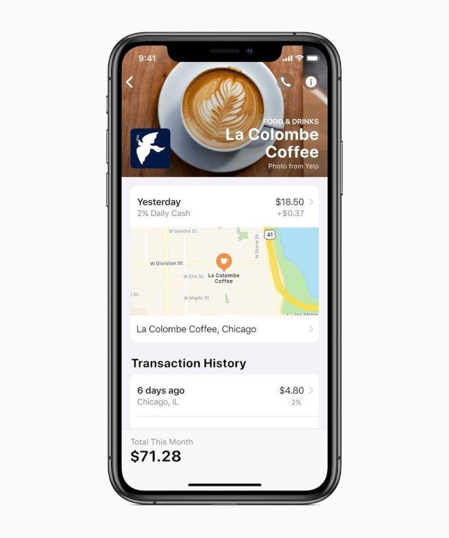 Apple Card存在Wallet App中,供使用者隨時檢視詳細消費紀錄。圖/蘋果提供