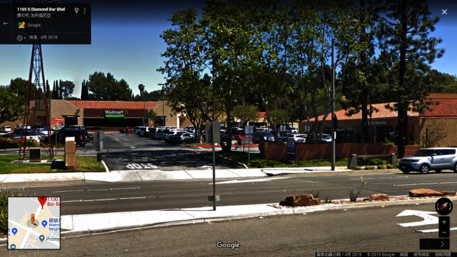 一對華裔夫婦在南鑽石吧大道1100號街區,離開銀行後遭搶。(Google街景圖)