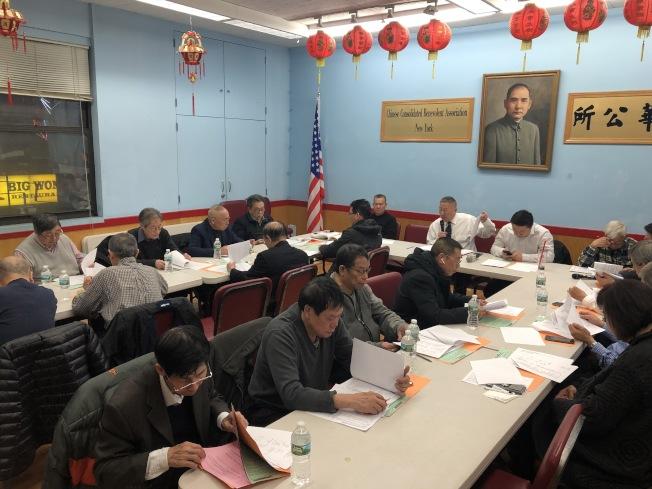中華公所常務議員會議表決通過附議聯名信,呼籲紐瓦克市府在紐瓦克華埠原址樹立紀念碑。(記者洪群超/攝影)