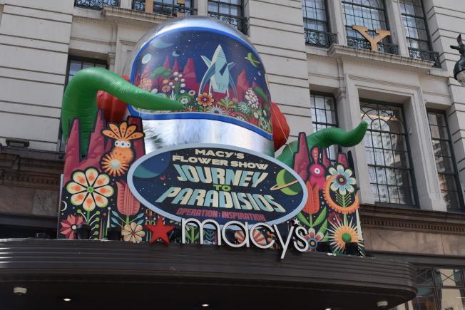 第45屆梅西百貨國際花卉展主題「Paradisios之旅」。(記者顏嘉瑩/攝影)