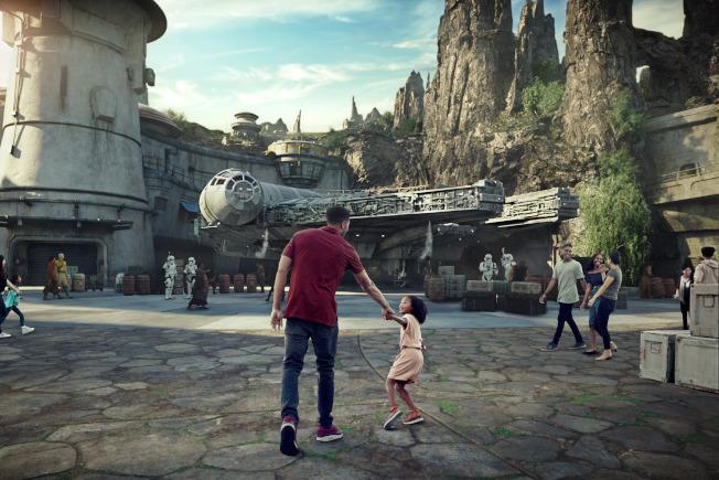 迪士尼星際大戰園區的電腦影像示意圖。  彭博(迪士尼樂園提供)