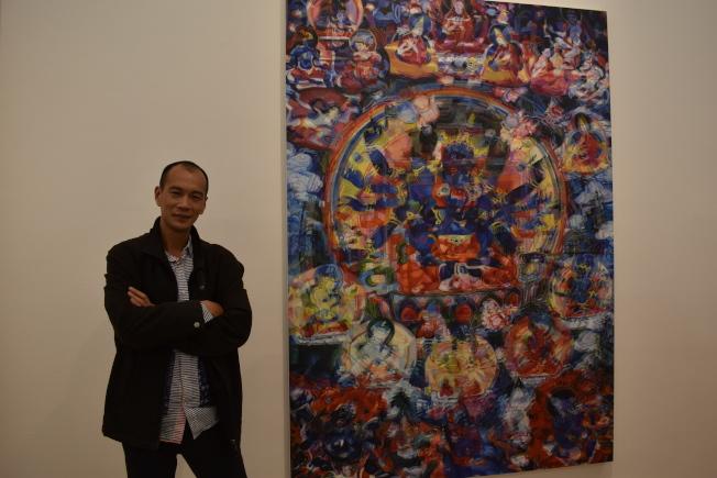 鄭國谷表示,過去八年的創作期間,他透過藝術找尋自我。(記者顏嘉瑩/攝影)