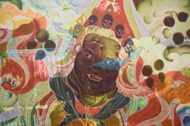 12幅繪畫作品來自鄭國谷過去八年創作的「大幻化」系列。(記者顏嘉瑩/攝影)