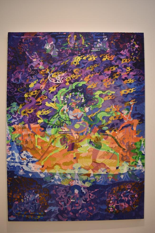 鄭國谷的「幻化」展展出12幅繪畫作品。(記者顏嘉瑩/攝影)