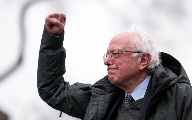 爭取民主黨2020年總統候選人提名的桑德斯,第一季募得1800萬元,大部分是小額捐款。(Getty Images)