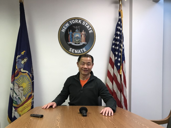 劉醇逸表示,特殊高中錄取結果公布後,反對取消SHSAT的聲音在州參議會成為少數。(記者牟蘭/攝影)