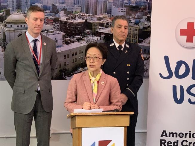 陳倩雯表示,紐約市去年因火災死亡的人數創下十年來最高紀錄。(記者和釗宇/攝影)