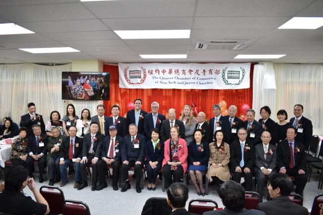 紐約中華總商會於7日在曼哈頓華埠舉行第70屆職員就職典禮暨餐會。(記者顏嘉瑩╱攝影)