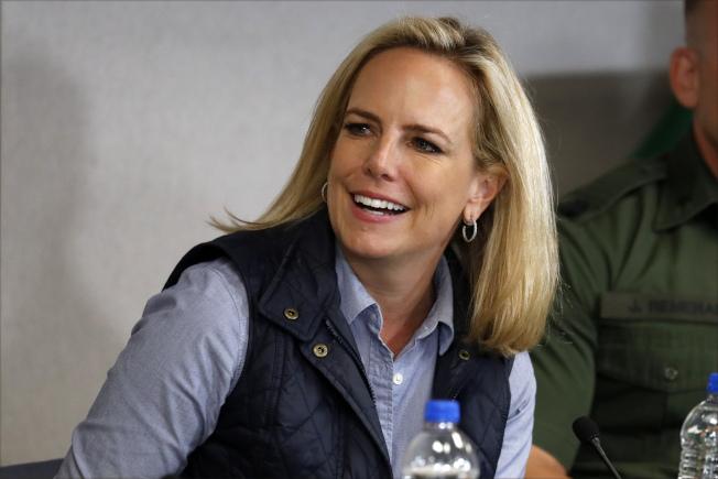 川普宣布國安部長尼爾森離職。(美聯社)