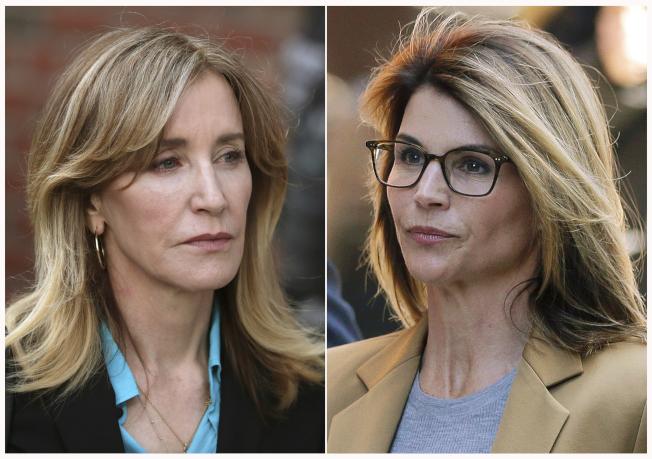 著名女星霍夫曼(左)8日在波士頓聯邦法庭認罪。另一女星羅夫林(右)尚未認罪。圖為兩人本月3日出庭後照片。(美聯社)